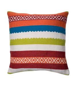 "Multi Stripe Outdoor Throw Pillow 22"" Square"