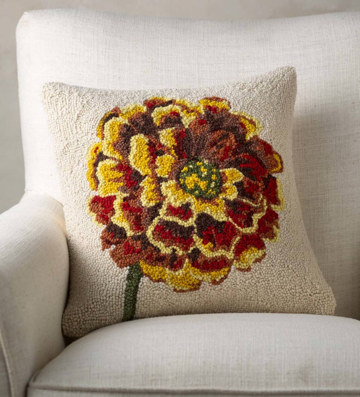 Marigold Flower Hand-Hooked Wool Decorative Throw Pillow
