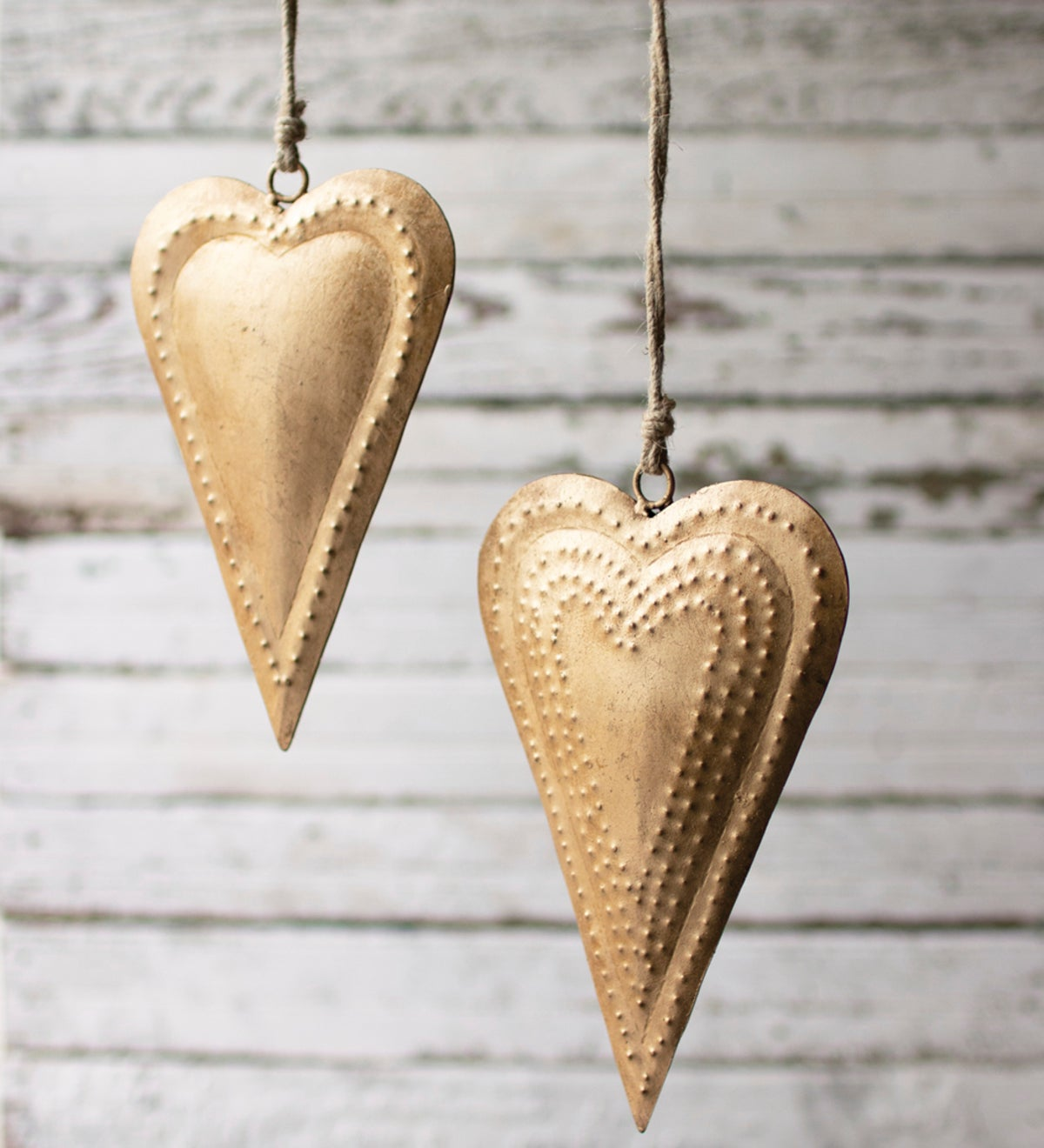 Hanging Antique Brass Metal Hearts, Set of 2