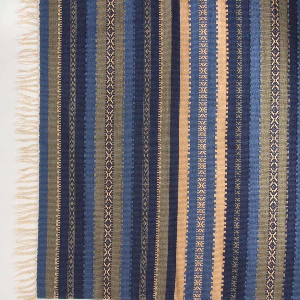 "Handwoven Cotton Striped Large Rug, 60""L x 36""W - Ocean Stripe"