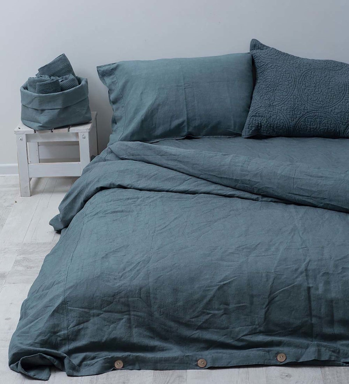 Stonewashed Belgian Flax Linen Bedding - Queen - French Blue