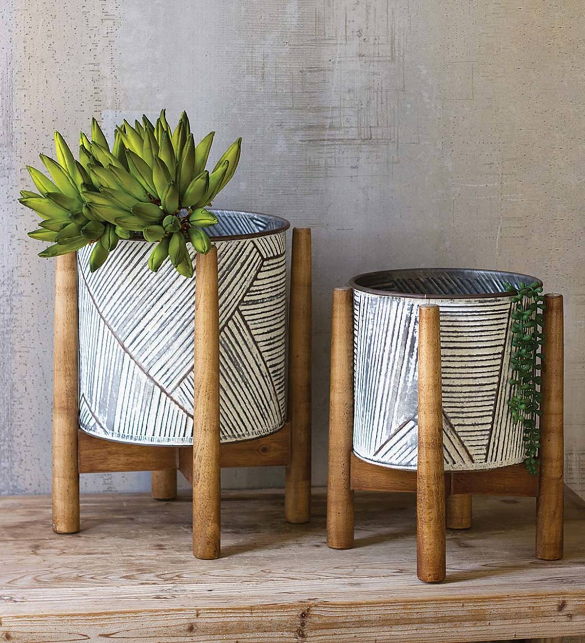 Set of 2 Etched Metal Planters on Stands