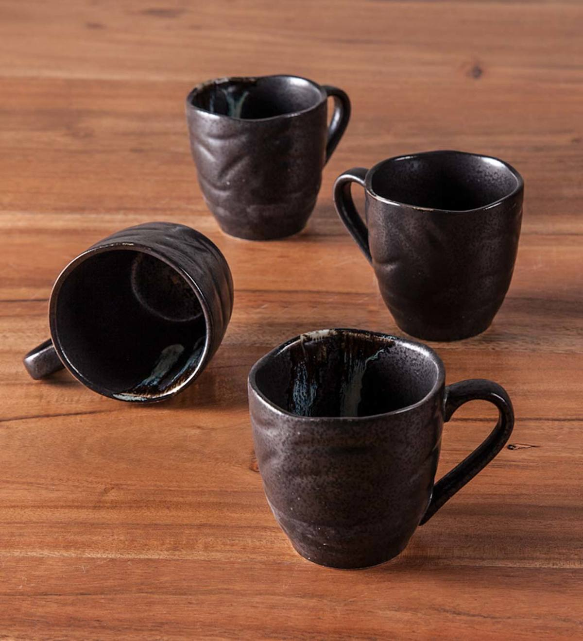 Hand-Painted Ceramic Zazen Mugs, Set of 4