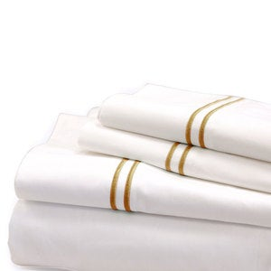 500 Thread Count Sateen Satin Stitch King Sheet Set - White, Aloe