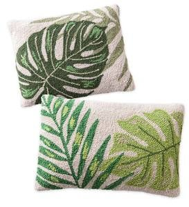 Hand Hooked Tropical Leaf Pillows - 18x14