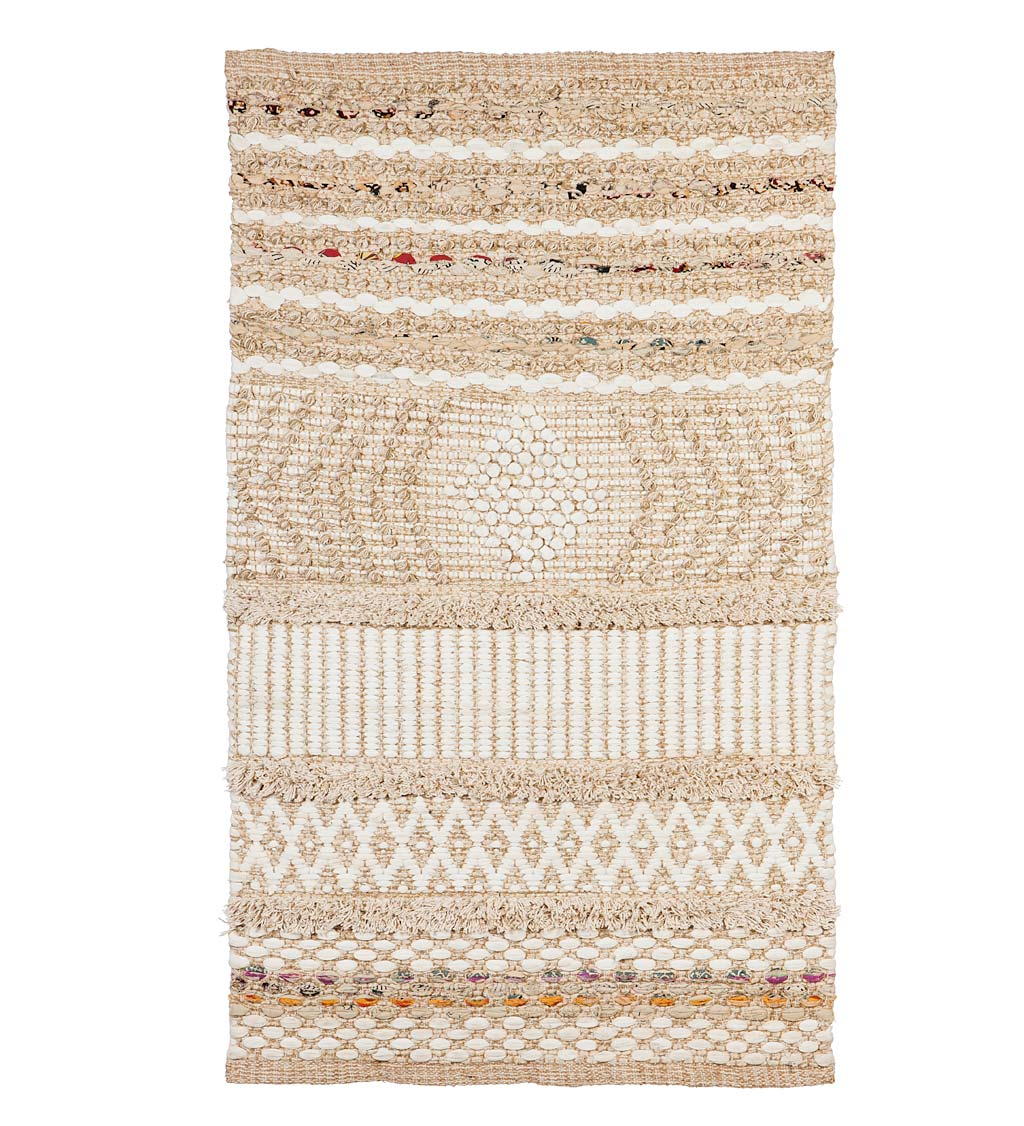 Indoor/Outdoor Jute and Cotton and Chindi Rug, 3' x 5'