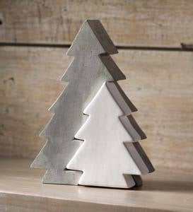 Cement and Ceramic Two-Tone Modern Tree Décor