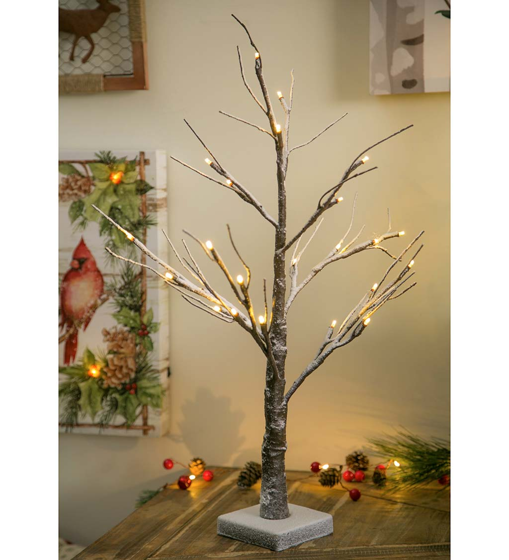 "24"" High LED Brown Snowy Tree"