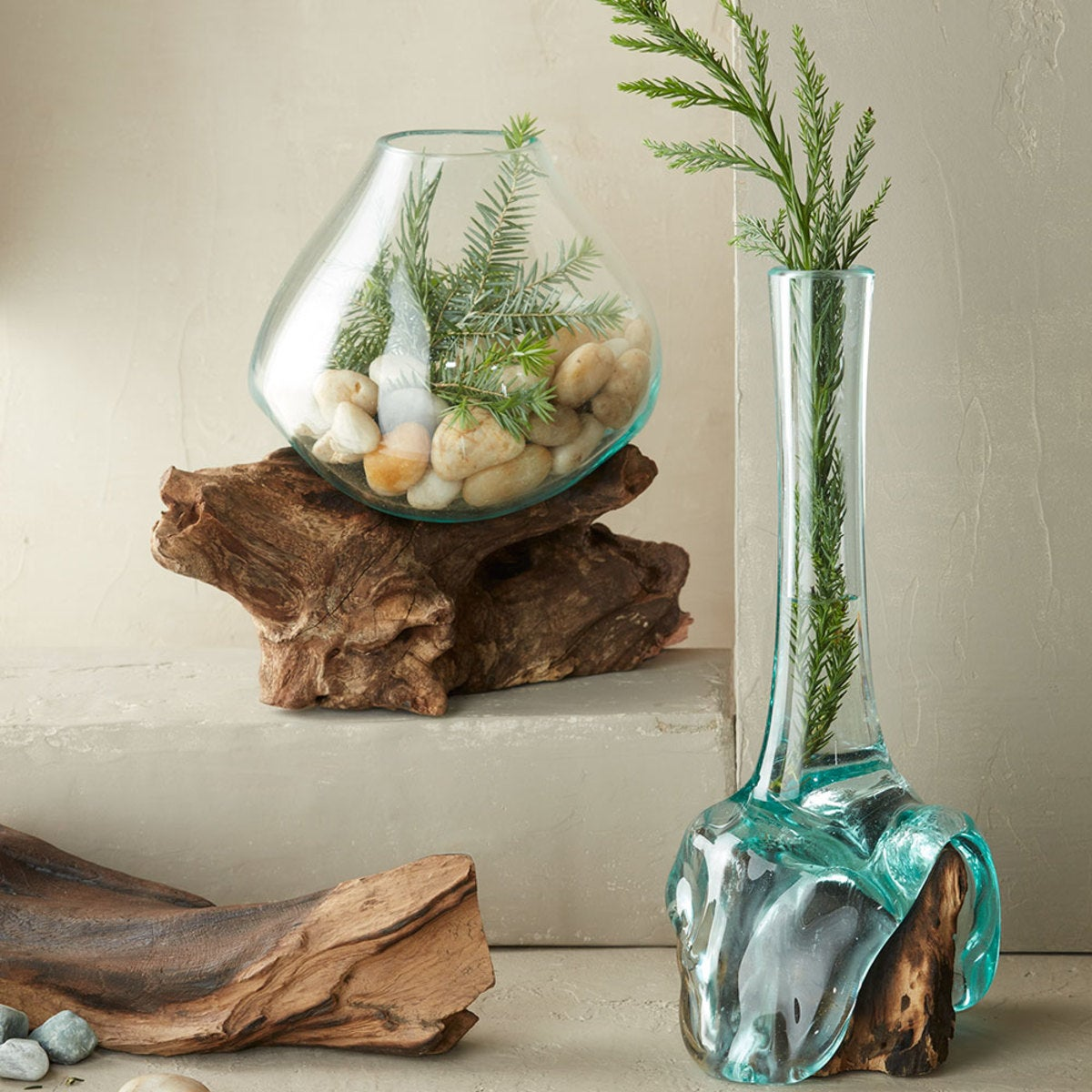 Teak and Blown Glass Collection