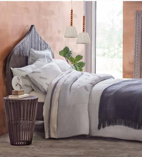 Feather Embroidered Linen King Duvet Set
