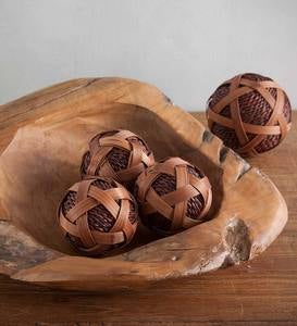 Small Rattan Ball Décor Set of 6