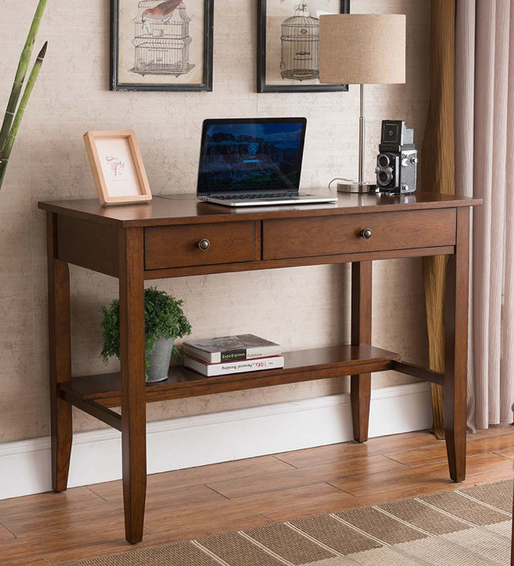 Picture of: Benton Desk With Charging Station Black Vivaterra