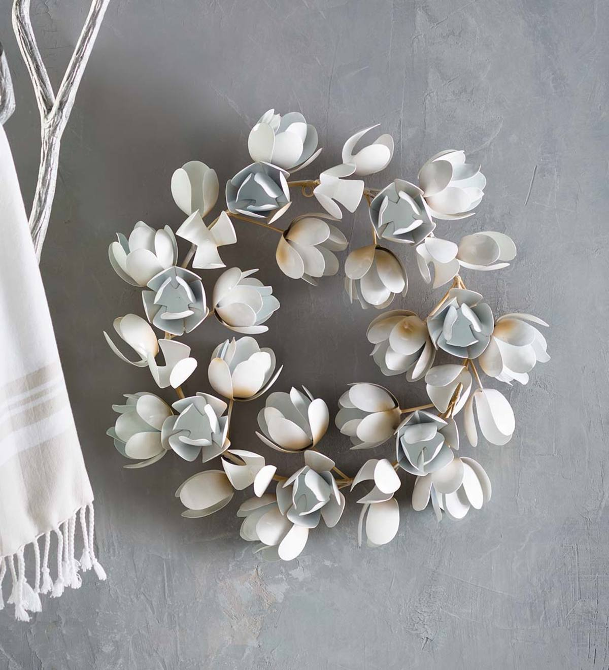 "White Metal Magnolia Wreath, 20"" dia."