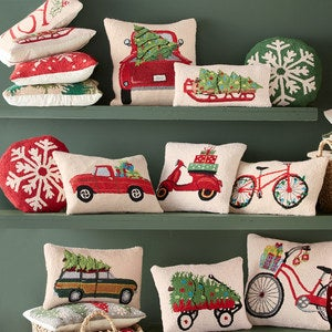 "Red Wagon Hand-Hooked Wool Pillow, 18""L x 14""H"