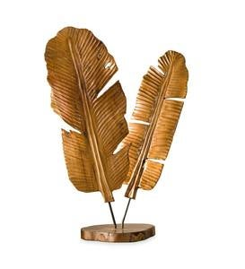 Carved Teak Banana Leaf Sculpture