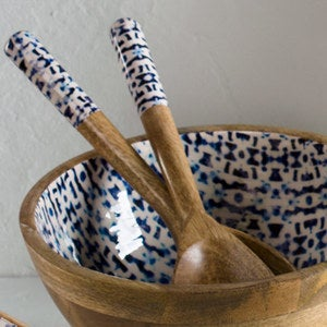 Jesse's Indigo Enamel Coated Mango Wood Salad Servers