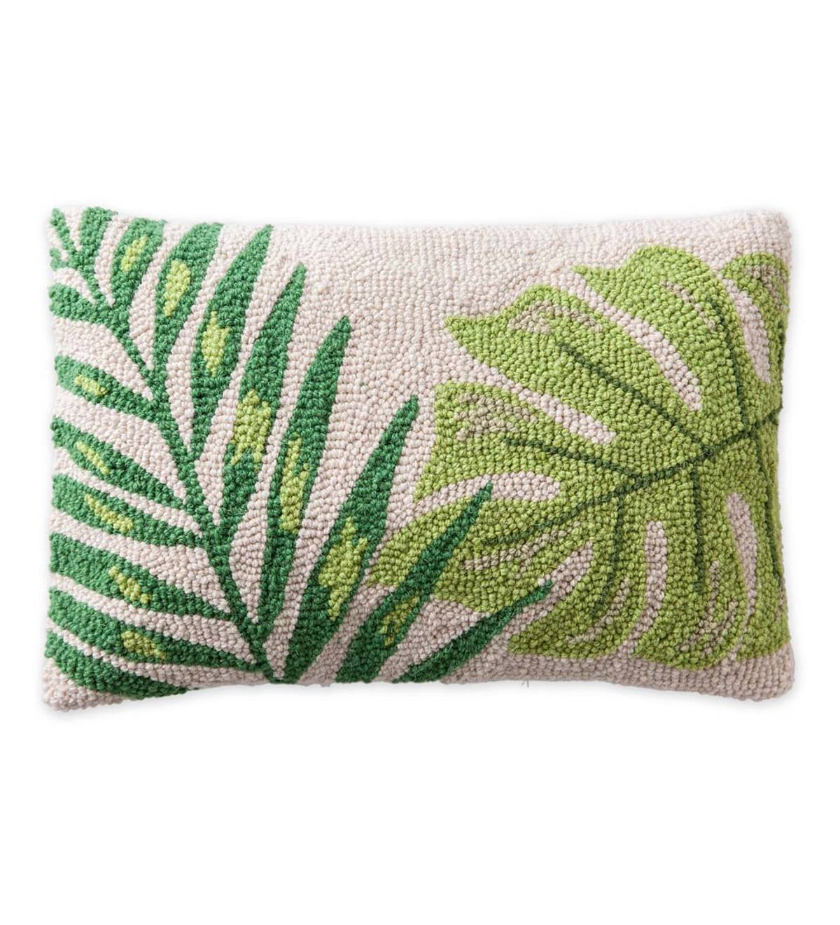 Hand Hooked Tropical Leaf Pillows - 18x12