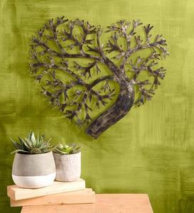 Recycled Metal Heart Shape Tree of Life