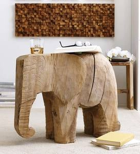 Lucky the Elephant Handcarved Side Table