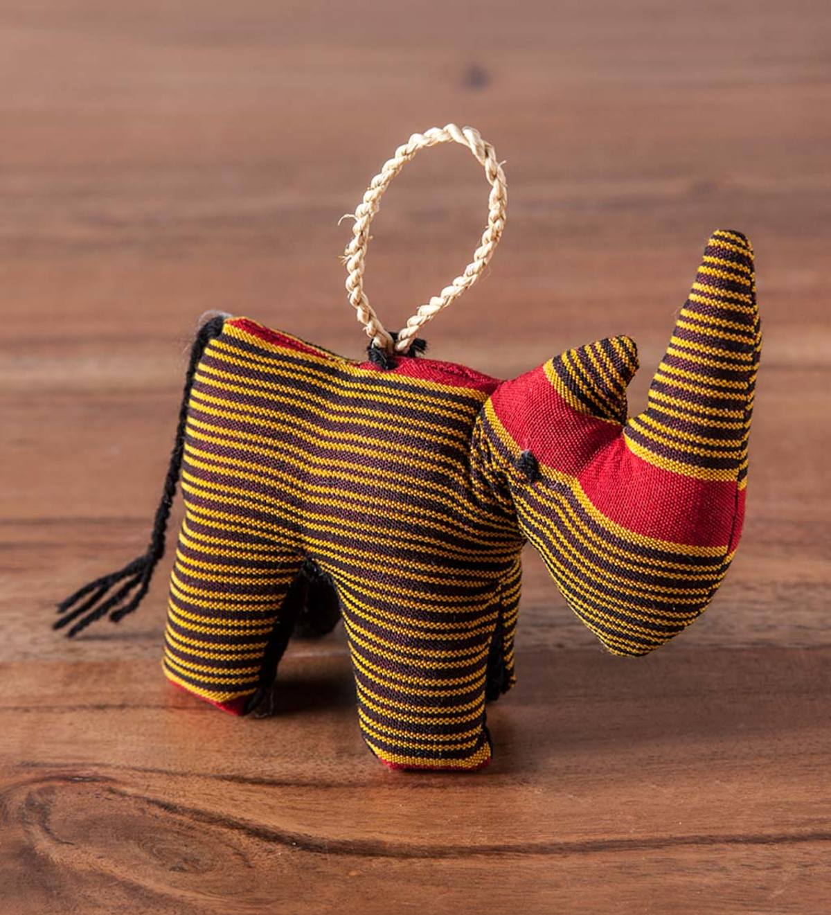 Kikoy Fabric Rhino Ornament  - Red