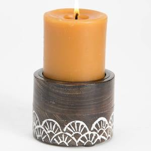 Handcarved Indian Rosewood Round Candle Holder - Large