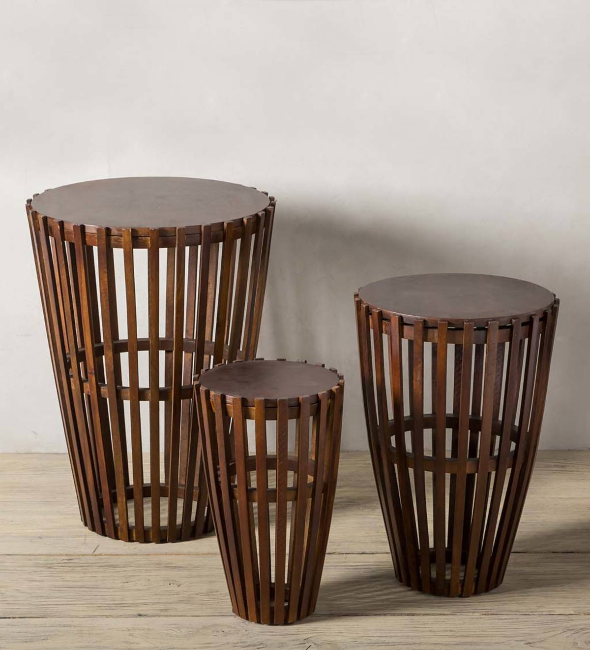 Nesting Wooden Drum Table Set - Dark Finish