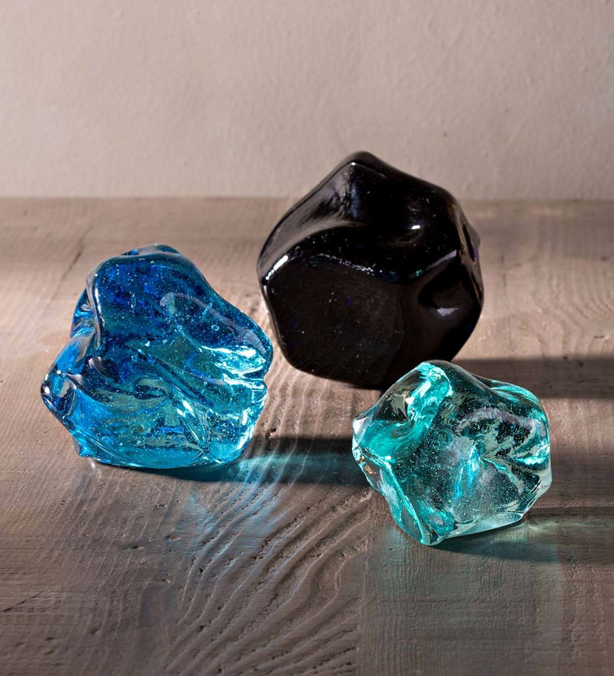 Recycled Glass Stones, Set of 3