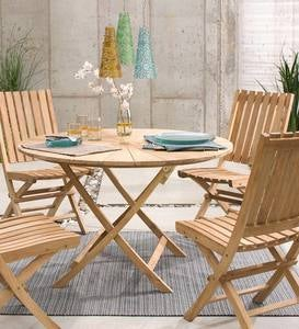 Folding Teak Wood Outdoor Dining Table