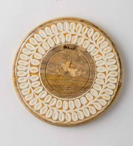 Mango Wood and Enamel Charger/Platter