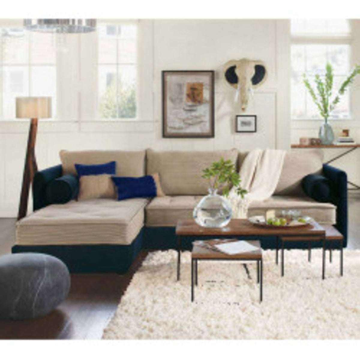 Eco Linen Sectional Sofa with Left Chaise - Midnight Moonstone - Moonstone