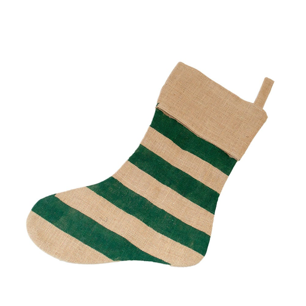Striped Burlap Stocking