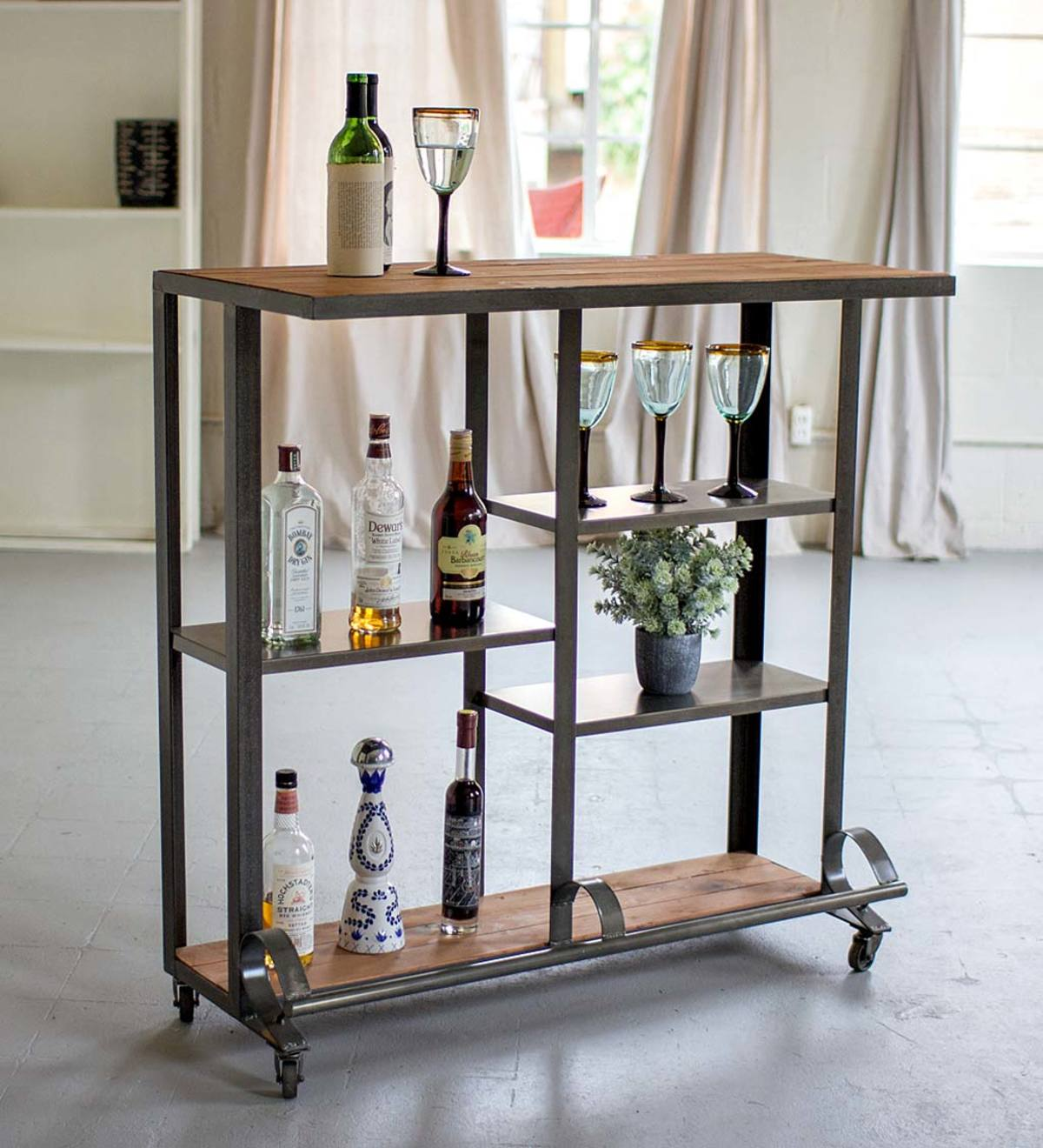 Raw Metal and Wood Rolling Bar Cart
