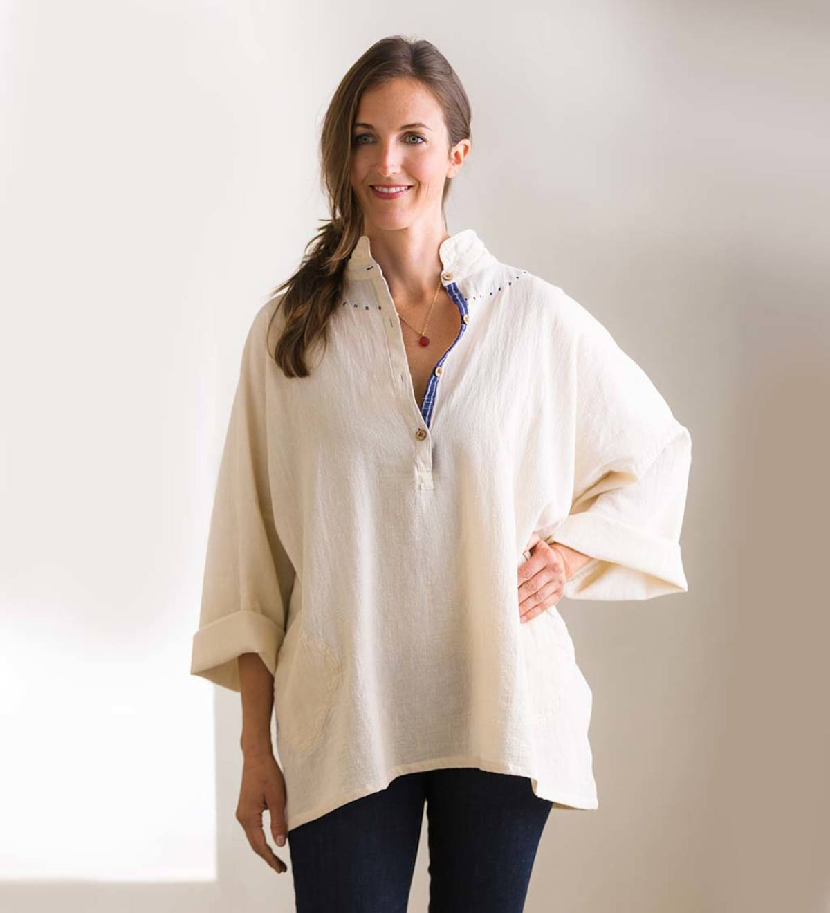 Handmade Unbleached Cotton Peasant Shirt