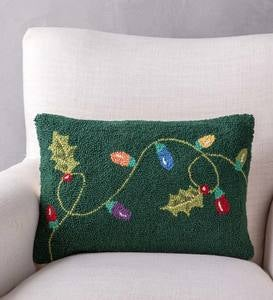 Hand-Hooked Wool String Lights Pillow