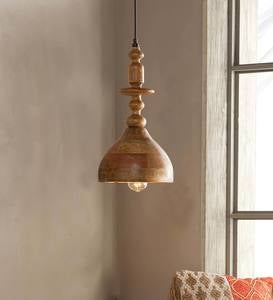 Mango Wood Carved Pendant Light