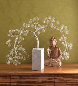 Silver Weeping Willow Metal&Marble Sculpture
