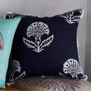"Jacobean Floral Pillow Cover, 18"" sq. - Navy"