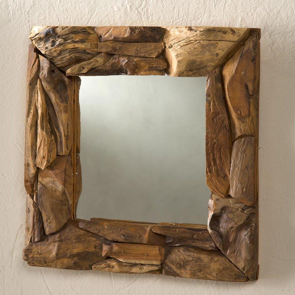 Teak Driftwood Mirror Vivaterra