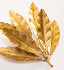 Gold Finish Recycled Metal Leaf Decor, Set of 8