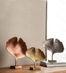 Tri-Color Ginkgo Leaf Statue Set