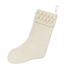 Holiday Diamond Stitch Stocking - Ivory
