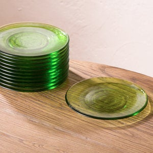 Color Cast Recycled Glass Salad Plates, Set of 6 - Green