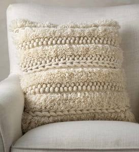 Woven Boho Textured Throw Pillow, Cream Pebble