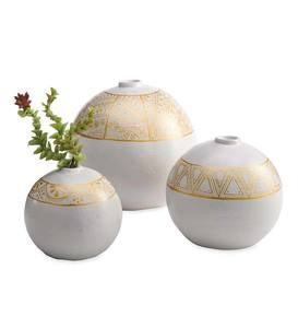 Hand-painted Clay Vases, Set of 3