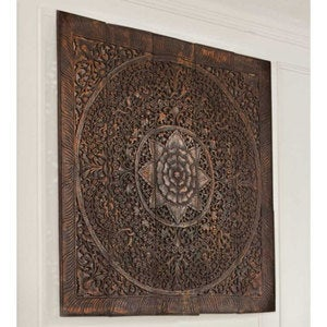 "Teak Lotus Handcarved Wall Panel - 60"" x 60"""