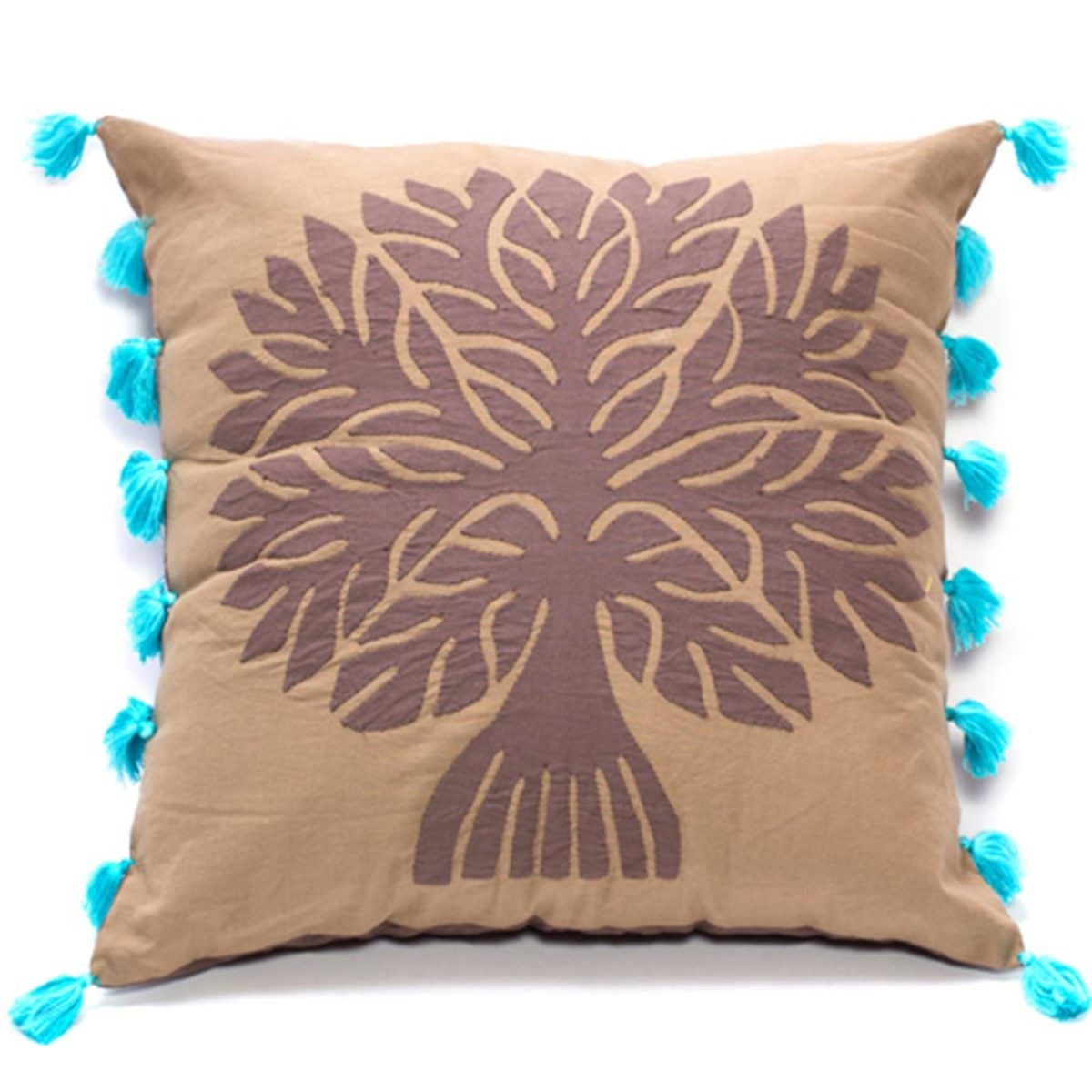 Tree Of Life Applique Pillow Cover - Forest Green - Brown