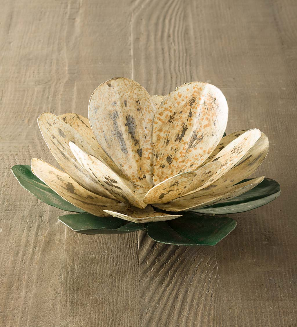 Blooming Metal Flower Candle Holder