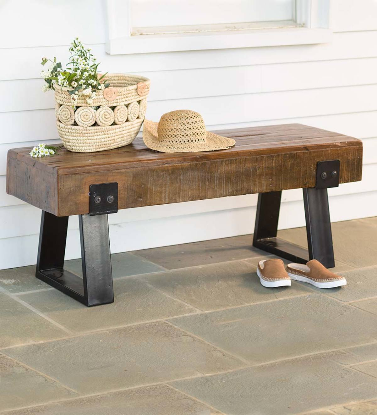 Sensational Richland Indoor Outdoor Reclaimed Wood Bench Vivaterra Pabps2019 Chair Design Images Pabps2019Com