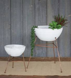 Whitewash Clay Bowl/ Planters on Copper Stand, Set of Two