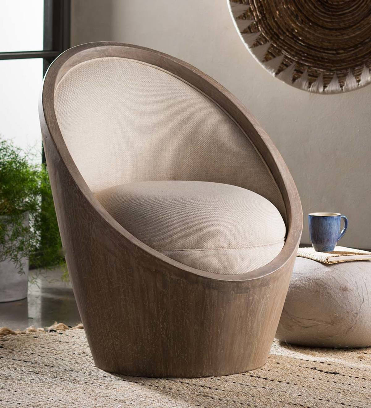 Mahogany and Linen Egg Chair